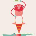 Krokodil en Aap - Jetske Kox Illustraties - Vrolijke posters, prints en ansichtkaarten