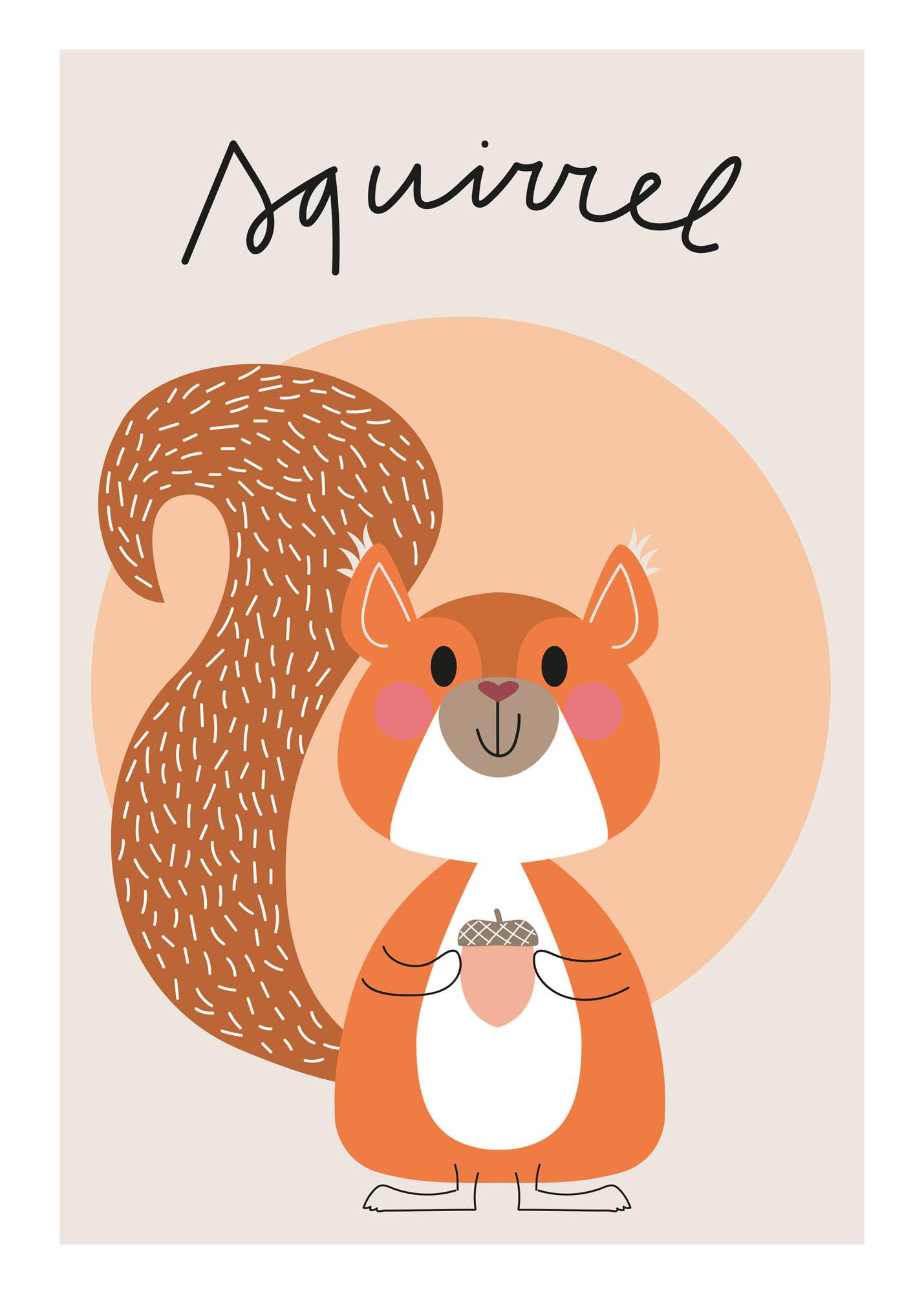 Eekhoorn - Jetske Kox Illustraties - Vrolijke posters, prints en ansichtkaarten