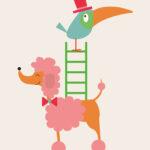 Poedel en Vogel - Jetske Kox Illustraties - Vrolijke posters, prints en ansichtkaarten
