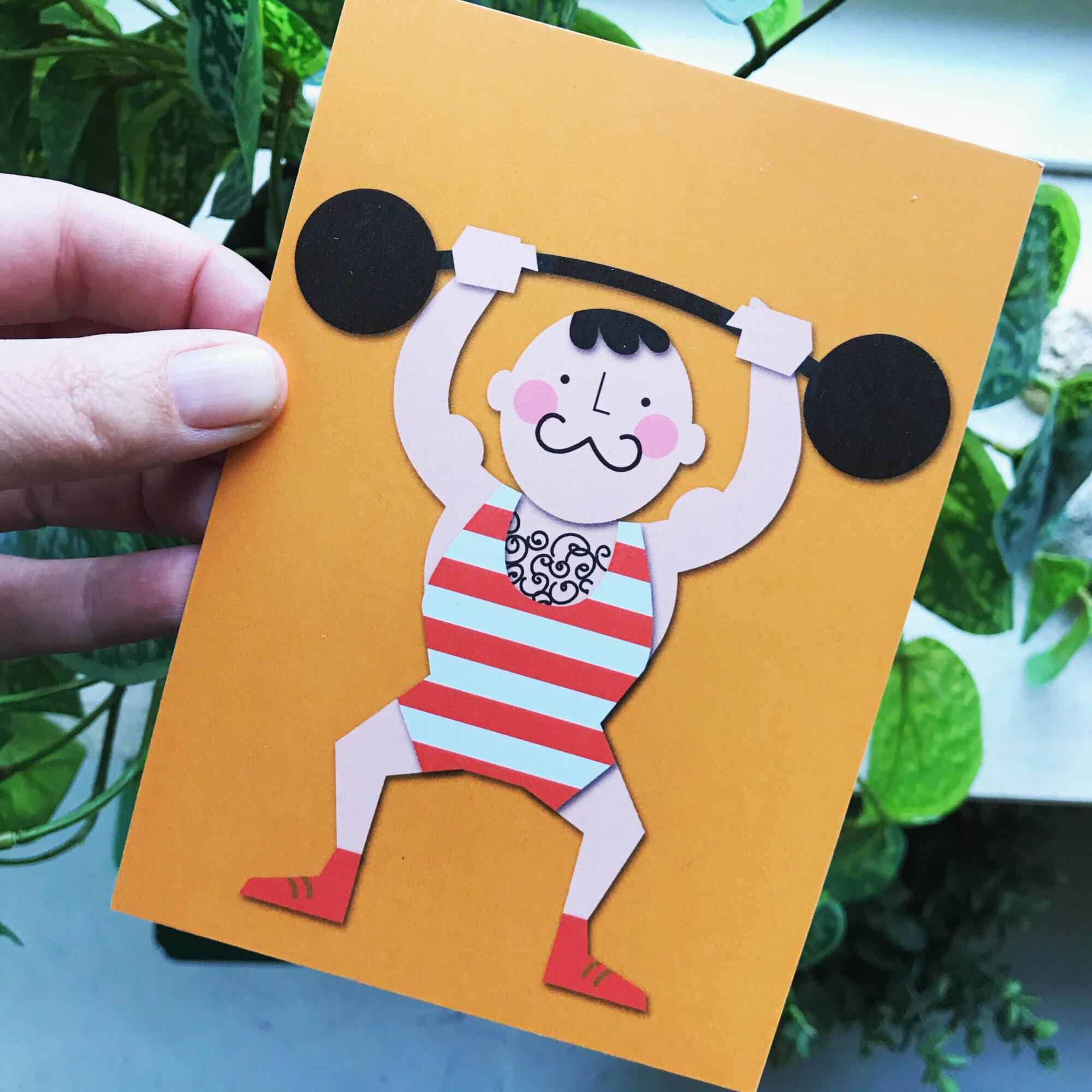 Sterke man - Jetske Kox Illustraties - Vrolijke posters, prints en ansichtkaarten